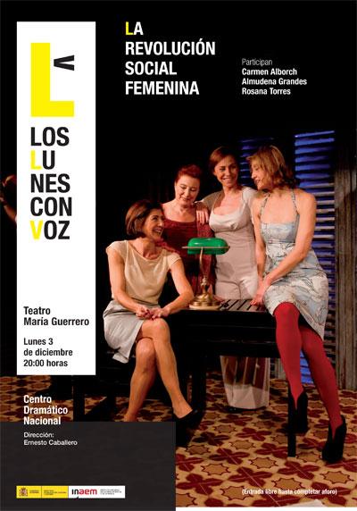Cartel de La revolución social femenina. Los lunes con voz