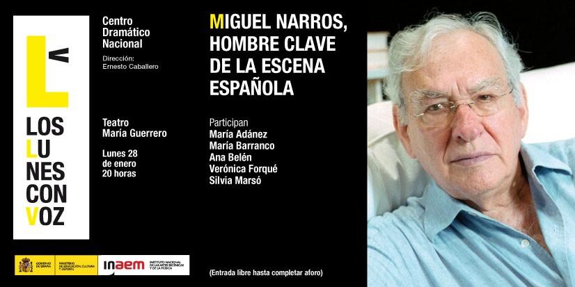 Cartel de Miguel Narros, hombre clave de la escena española. Los lunes con voz