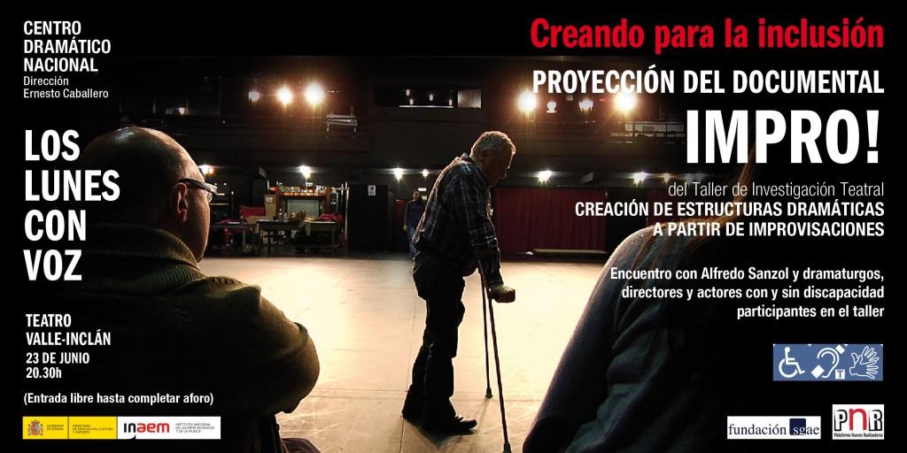 Cartel de Proyección del documental IMPRO! Los lunes con voz