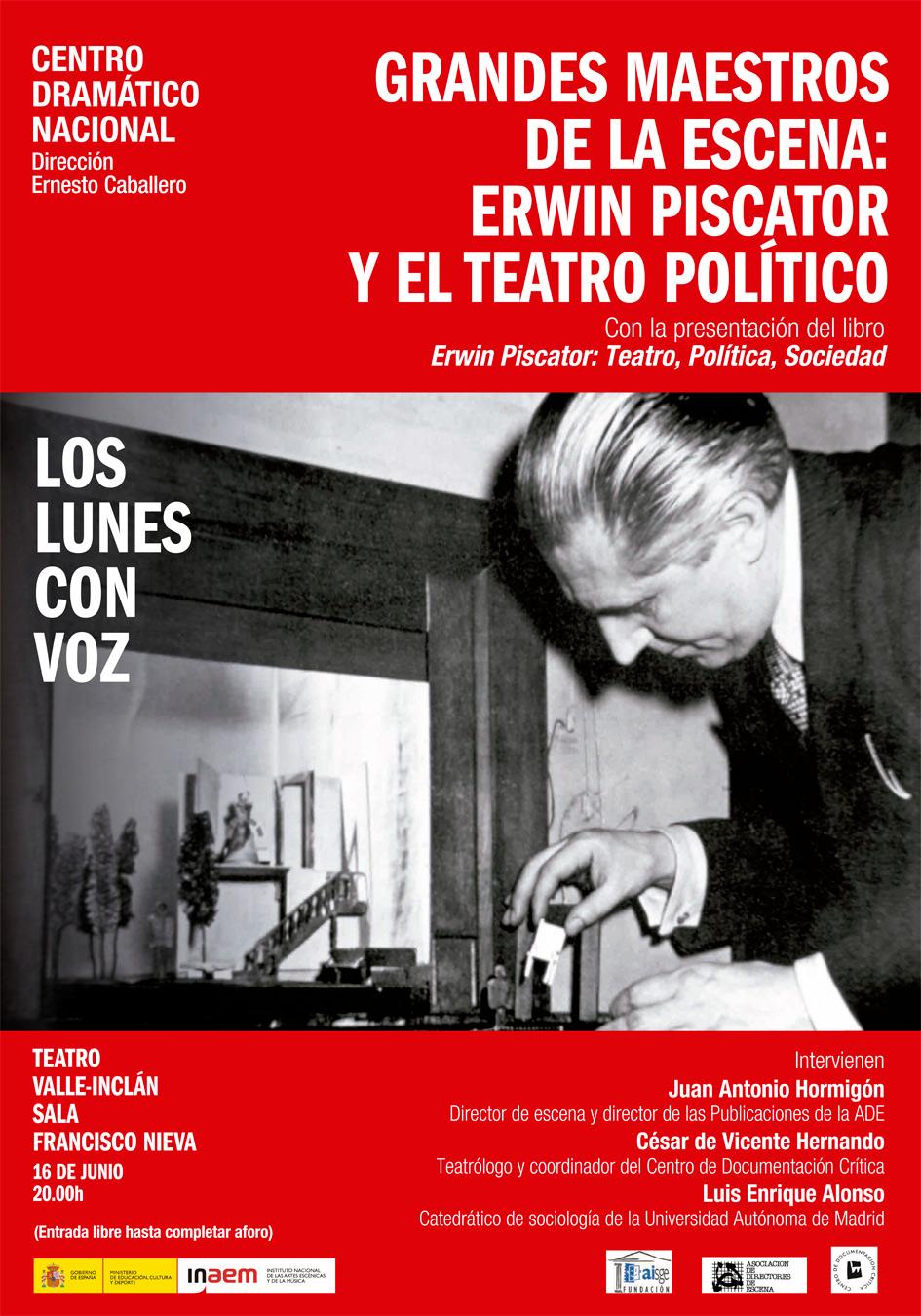 Cartel de Grandes maestros de la escena: Erwin Piscator y el teatro político. Los lunes con voz