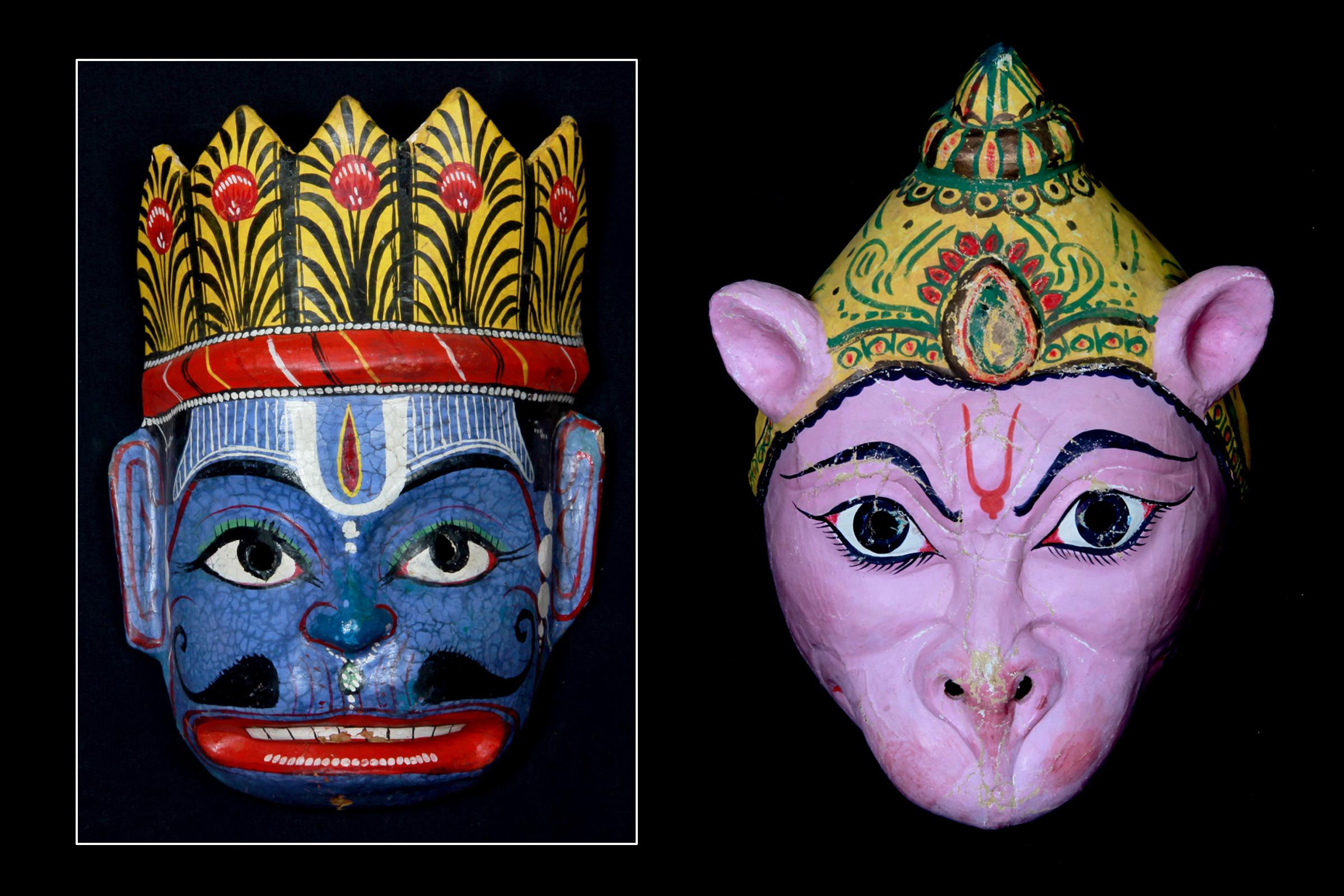 Fotos de dos máscaras de la exposición Akhyan