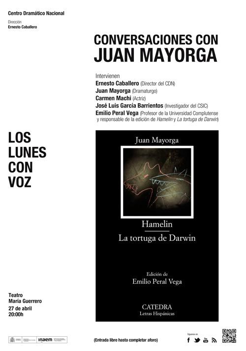 Cartel Conversaciones con Juan Mayorga (Lunes con voz)