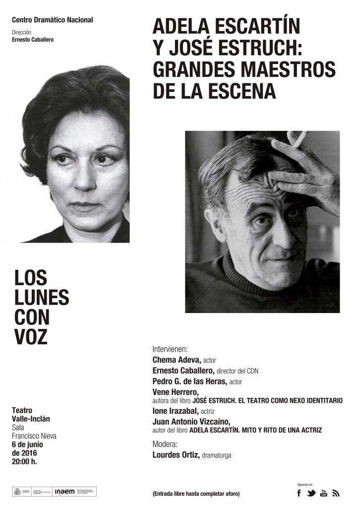 Cartel Adela Escartín y José Estruch: Grandes maestros de la escena (Los lunes con voz)