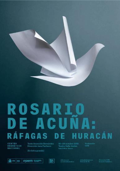 """Cartel de """"Rosario de Acuña: Ráfagas de huracán"""""""
